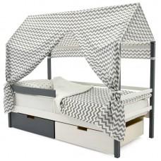 Кровать-Домик «Svogen графит-белый»