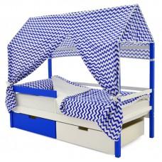 Кровать-Домик «Svogen синий-белый»
