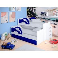 Детская выдвижная кровать Дельфины